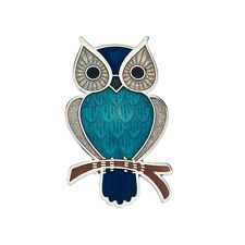 Turquoise Owl Brooch Silver Plated Large Design Brand New Gift Packaging