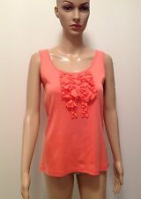 Women's Peach Frilly Embellished Front Stretch Tank Top Cami Size S 12-14