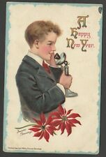 Postcard New Year chromo litho Boy and Candlestick Telephone Frances Brundage
