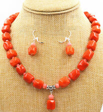 "Fashion Natural pink orange CORAL Necklace earring Gemstone Beads 18 ""Women Gift"