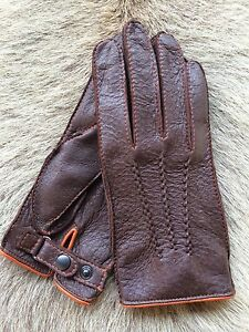 Men's Peccary Leather Gloves Special Edition Super Elegant Black Brown Cognac