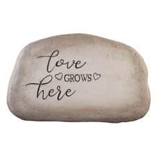 Love Grows Here Garden Stone, Cement Lawn Décor, 11 ¾� Wide x 7 ½� High