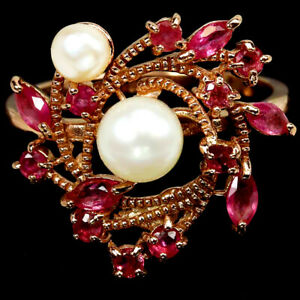 GENUINE AAA WHITE PEARL & PINK RED RUBY STELRING 925 SILVER RING SIZE 8.75