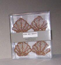 New listing Kim Seybert Napkin Rings Beaded Sea Shell  00004000 Gold, Silver, White Nib