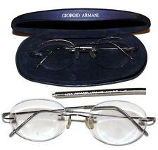 Giorgio Armani Rimless Silver Rimless Eyeglasses Glasses With Case 48 Square 18