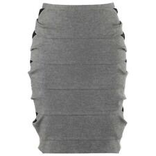 FENDI Pre-Fall 2012 Gray Wool Black Lace Detail Banded Pencil Skirt