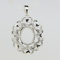 Sterling Silver Semi Mount Pendant Setting Oval OV 10x8mm
