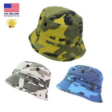New Bucket Hat Bonie Basic Hunting Fishing Outdoor Summer Cap Unisex Camo Eyelet