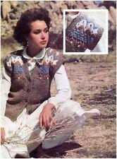 Da Donna Grosso Fair Isle Texture dettaglio Gilet Vintage Knitting Pattern