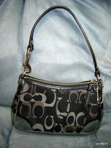 signature COACH BAGETTE Evening Bag black/charcole/gray #2171 excellent