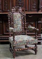 Antique French Renaissance Carved Oak Hunt Arm Chair