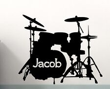 Drum set wall decal, custom drum set vinyl sticker, band music mural