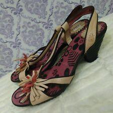 Fly London Womens Sandals Heels EUR 37 US 6.5-7 Beige Slingback Tassel Flower