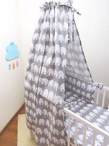 2-10 Pcs Nursery Baby Bedding Set 120x90/135x100/150x120 White Elephants on Grey