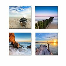 Wall Art 4 Panel Landscape Colored Beach Ocean Stretch Canvas Prints Home Decor