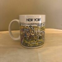 Vintage New York City Cityscape Coffee Tea Mug Twin Towers View Of New York