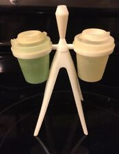 vintage tupperware salt and pepper shakers with toothpick stand