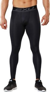 2XU Accelerate Long Mens Compression Tights Black Gym Training Sports Baselayer