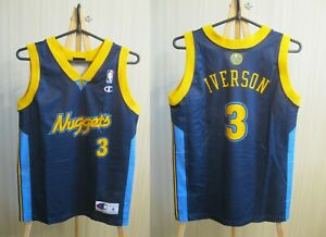 BOYS Denver Nuggets #3 Allen Iverson Champion Size M basketball jersey shirt