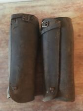 Pair of Antique Brown Leather Gaiters Edwardian Horse Riding Outfit Attire Chaps