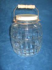 Vintage Glass Barrel Style General Store PICKLE JAR/ STORAGE CANISTER, WD Handle