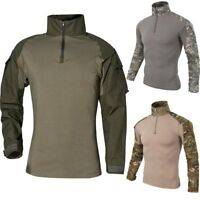 Men Slim Fit Camouflage Tactical Military Long Sleeve Casual Camo T-Shirt ~