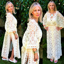 Vtg Bohemian Beach Sheer Crochet Lace Scallop Maxi Cover Up Caftan Kimono Dress