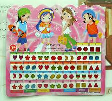 FD553 Kid Girl Crystal Stick Earring Sticker Toy Body Bag Party Jewellry ^60pcs^