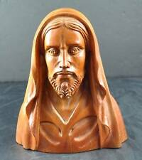 Vintage Hand Carved Wood Man Caped Hood Beard Bust Figurine Statue Signed