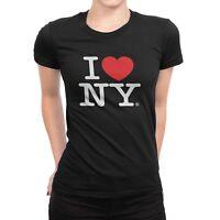 I Love NY New York Womens T-Shirt Spandex Tee Heart Black NY Fashion Tee Ladies