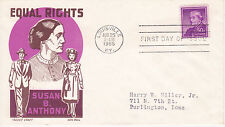 POSTAL HISTORY-1955 FDC SUSAN B. ANTHONY ISSUE 'EQUAL RIGHTS' CACHET CRAFT K BOL