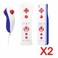 2x Controlador MotionPlus Remote + Nunchuk para Nintendo Wii Toad Ver.