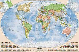 Politische Weltkarte, Größe 120 x 80 cm, Aktuell: Stand 2017, deutsch
