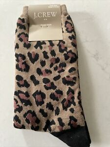 J CREW Lazy leopard print trouser socks cotton blend NWT! Women's One Size