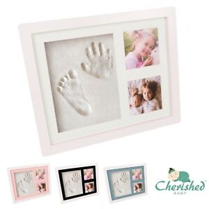 Cherished Baby Hand & Foot Print Clay Cast Photo Picture Frame *Christening