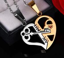 Collar De Corazón Colgante Oro Plata Cadena para Hombre Mujer Acero Inoxidable