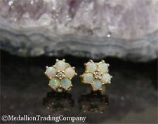 14k Yellow Gold Fiery Bright Opal & Diamond Flower Cluster Earrings