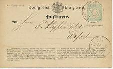 "BAYERN ""WEILER"" K1 (Winkler 20a) klar a 2 Kr. GA (ABART) n ERFURT, 1874"