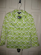 Ellen Tracy Sz 8 Jacket White with Green Print Lined in Green NWT $498 Womens