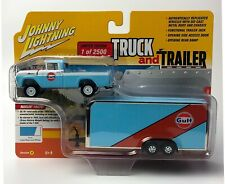 Johnny Lightning 1959 Ford F-250 1/64 Truck & Trailer Gulf Blue Vs. A