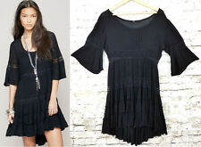 Free People Daisy Crochet Lace Tiered Bell Sleeve Black Dress L Boho Peasant