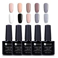 5 Bottles 7.5ml Soak off UV Gel Nail Polish  Glitter Gray Color Gel Varnish