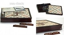 Scrabble Wood Edition Friends Family Rotating Game Board Tile Deluxe Word Finder
