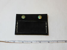 """Handmade leather coin purse pouch black gold tone snaps 3 7/8"""" X 2 3/4"""" flap"""