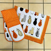 Ulster Weavers Cats In Waiting Kitchen Cotton Hand Tea Towel Double Oven Gloves