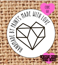 Handmade by geometric heart stickers | read description | 24 | GH | party