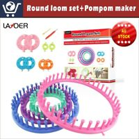 LAYOER Round Knitting Loom Set Pompom Ball Maker  Needle Hook Circle Hat Looms