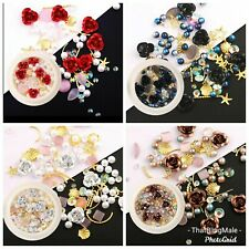 4X Nail Art Gem Pots with Roses Silver Bronze Red Black Mixed Bling Craft 3D