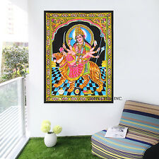 Lord Durga With Lion Tapestry Hippie Indian Tapestry,Cotton Wall Hanging,
