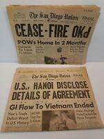 The San Diego Union Newspaper January 24 & 25 1973 Paris Accords End Vietnam War